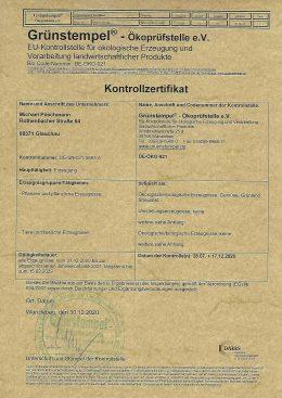 Grünstempel Zertifikat