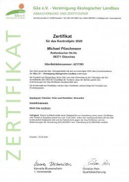 Zertifikat GÄA 2020